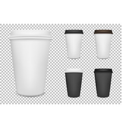 realistic blank paper coffee cup set vector image vector image