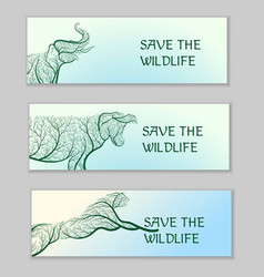 save the wildlife ecological banners vector image