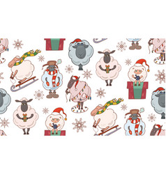 Seamless texture with colorful christmas cartoon vector