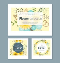 Set of invitation cards with colorful flowers 3 vector image