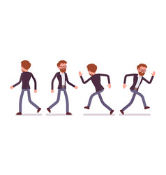 set of male manager in walking running poses vector image vector image