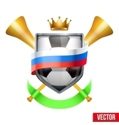 Shield in the football ball inside russia flag vector