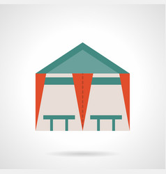 Tent cafe flat color icon vector
