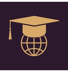 The graduation cap and globe icon vector