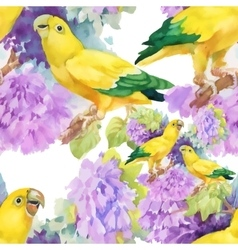 Watercolor seamless pattern with parrots and white vector image vector image