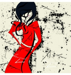 woman in red dress vector image vector image