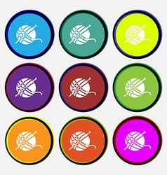 Yarn ball icon sign nine multi colored round vector