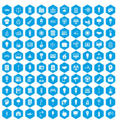 100 lamp icons set blue vector