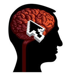 Human head with brain vector