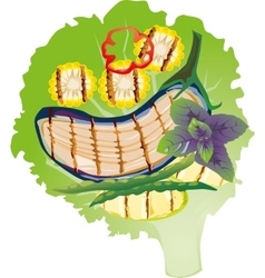 Grilled vegetables on a lettuce leaf vector