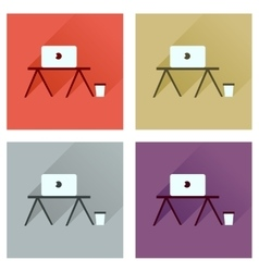 Concept of flat icons with long shadow laptop vector