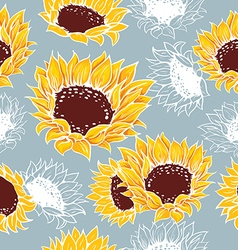 Decorative yellow sunflowers on a gray background vector