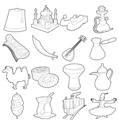 Turkey travel symbols icons set outline style vector image