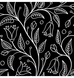 Seamless floral pattern white flowers on black vector