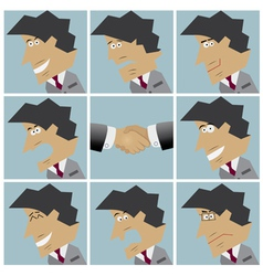 Businessman facial emotions vector