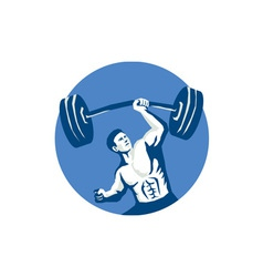 Strongman lifting barbell one hand stencil vector