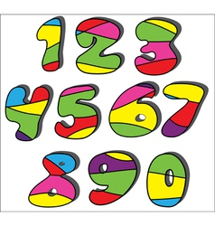 colorful cartoon numbers set vector image