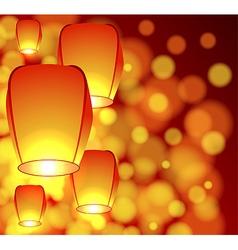 Air lanterns in the sky vector