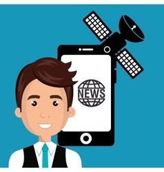 Avatar man news icon design vector
