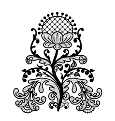 black lace flower vector image vector image