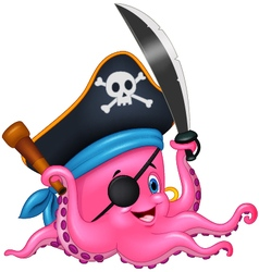 Cartoon pirate octopus vector