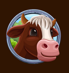 cow icon with frame vector image vector image