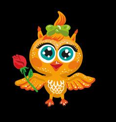 cute owl cartoon character bird holding a vector image vector image