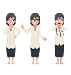 cute surprised female doctor pill medicine hand vector image