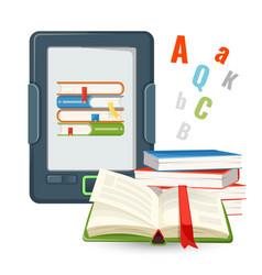 Ebook device contains millions of paper books vector