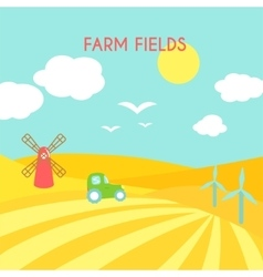 Farm fields landscape cartoon green field of vector