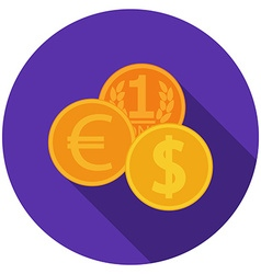 Flat design coins icon with long shadow isolated vector image