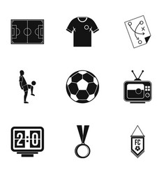 football championship icons set simple style vector image vector image