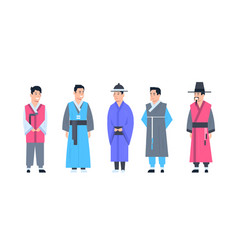 korea traditional clothes set of men wearing vector image
