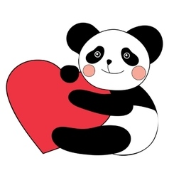 Panda with heart happy valentines day vector