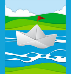 paper boat floating in the river vector image vector image