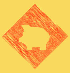 Pig money bank sign red scribble icon vector