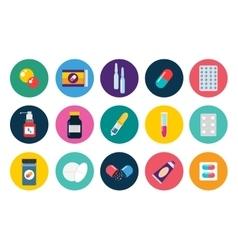 Pills capsules icons flat set medical vector
