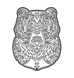 Polynesian tiki totem bear mask coloring page vector