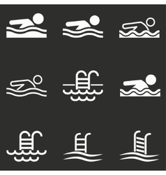Pool icon set vector image
