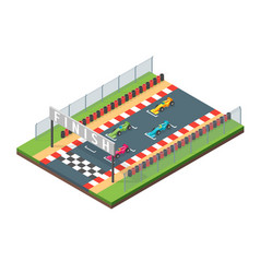racing finish line isometric view vector image vector image