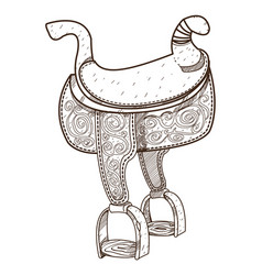 Saddle equipments for animals outline drawing for vector