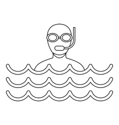 Scuba diving icon simple style vector