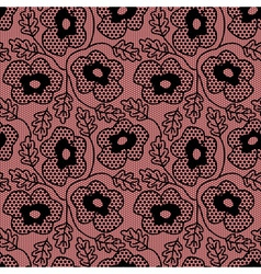Seamless black flower lace pattern vector image