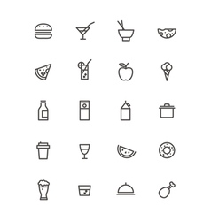 Simple foob icons collection isolated on white vector image vector image