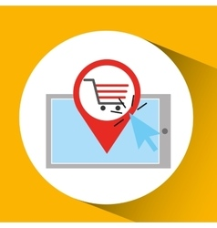 Smartphone shopping online cart graphic vector