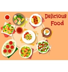 Snack salad dishes icon for healthy food design vector