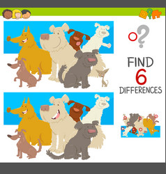 Spot the differences with dogs vector