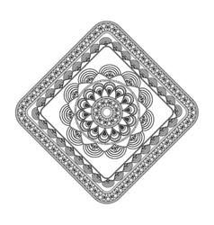 Squared decorative line mandala icon vector