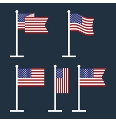 USA Flags on Flagstaffs Flat Icon vector image vector image