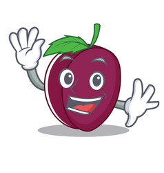 waving plum character cartoon style vector image vector image